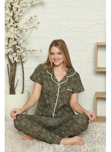 Akbeniz Kadın %100 Pamuk Önden Düğmeli Kısa Kol Pijama Takım 2805 Haki